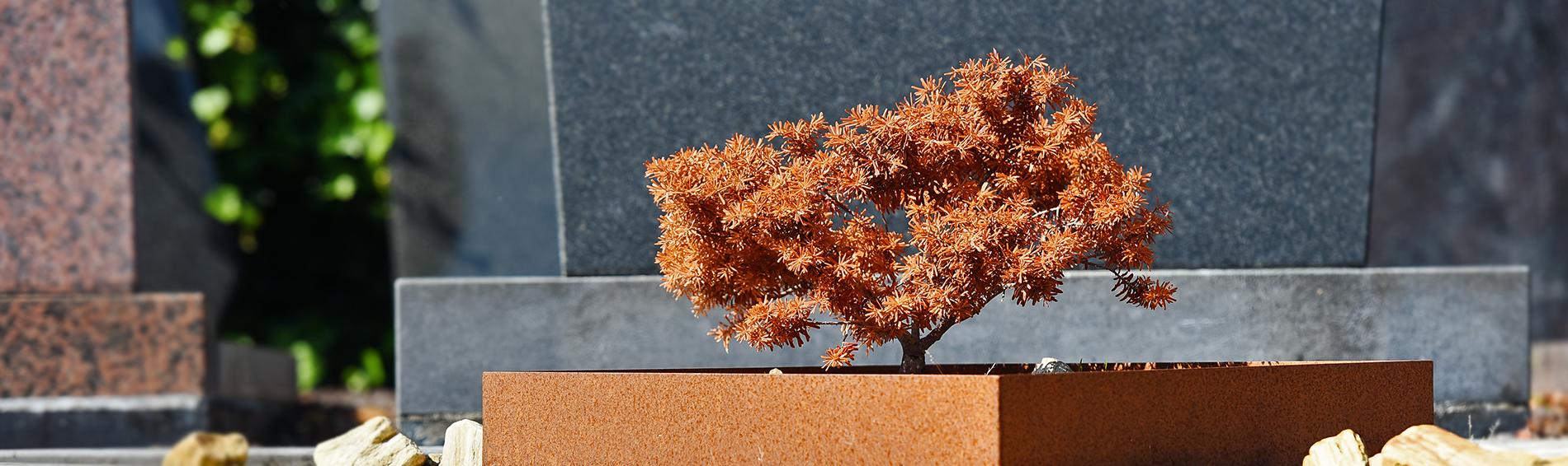 Cortenstalen grafsteen, grafmonument | Aries Natuursteen
