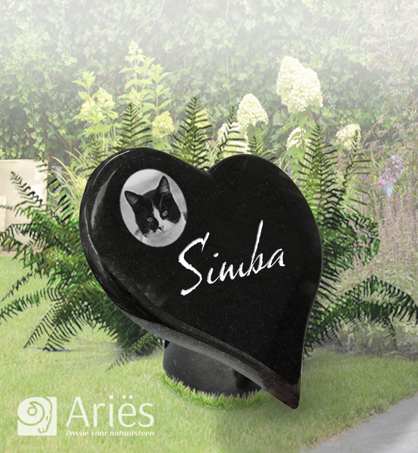 Gedenksteen hart op sokkeltje